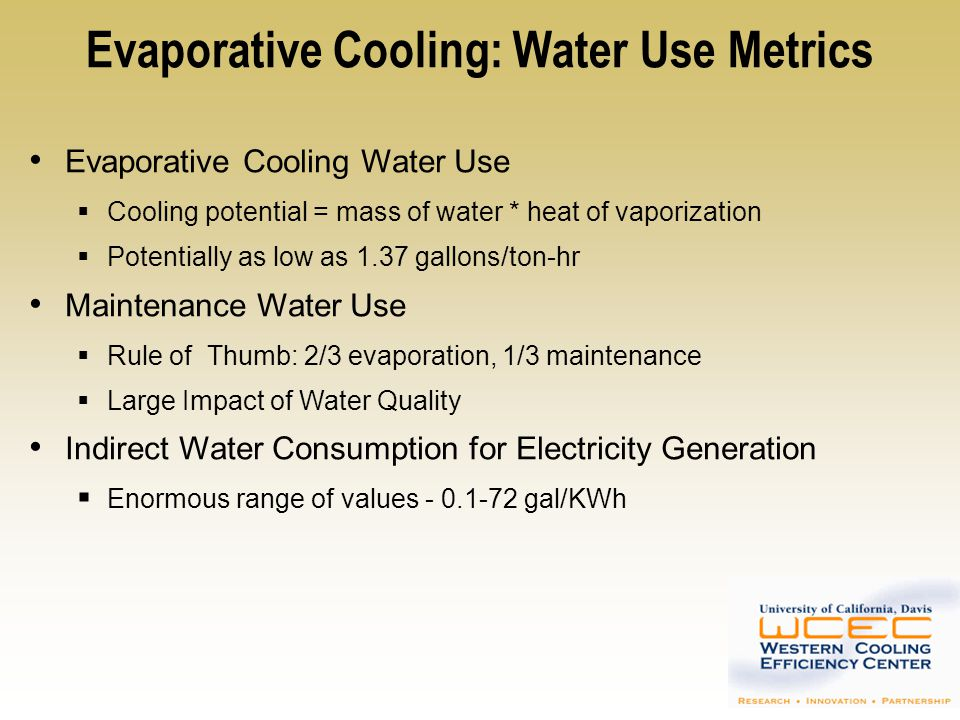 Evaporative Cooling: Water Use Metrics