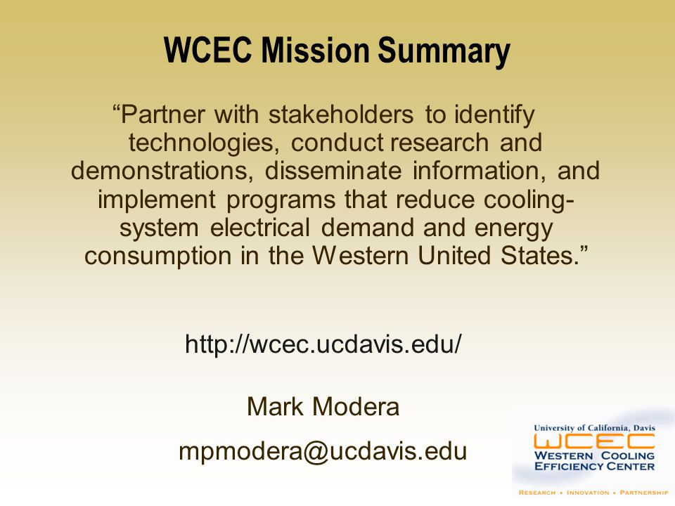 WCEC Mission Summary