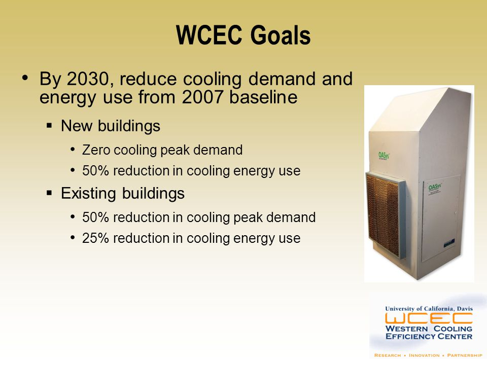 WCEC Goals By 2030, reduce cooling demand and energy use from 2007 baseline. New buildings. Zero cooling peak demand.