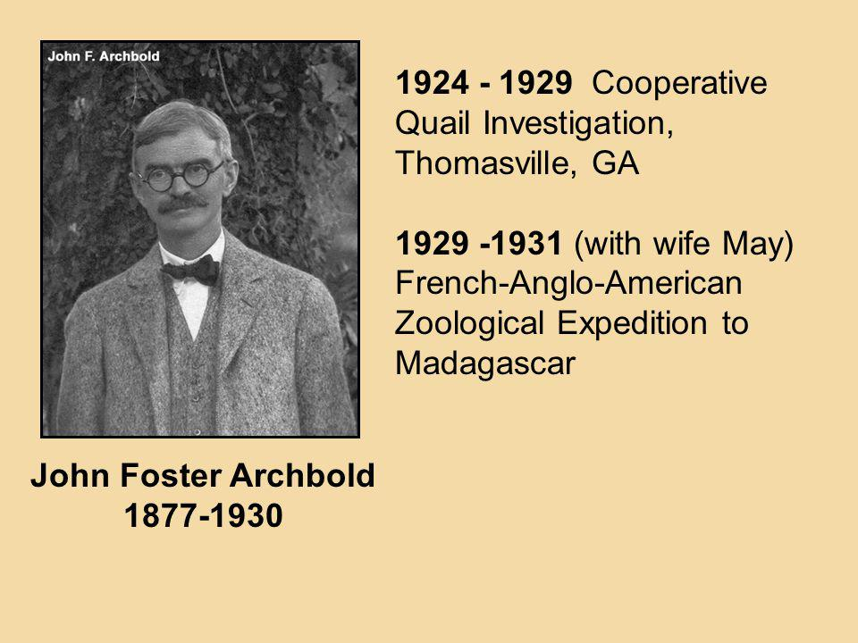 1924 - 1929 Cooperative Quail Investigation, Thomasville, GA