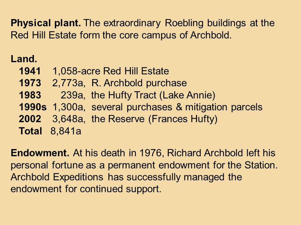 Physical plant. The extraordinary Roebling buildings at the Red Hill Estate form the core campus of Archbold.