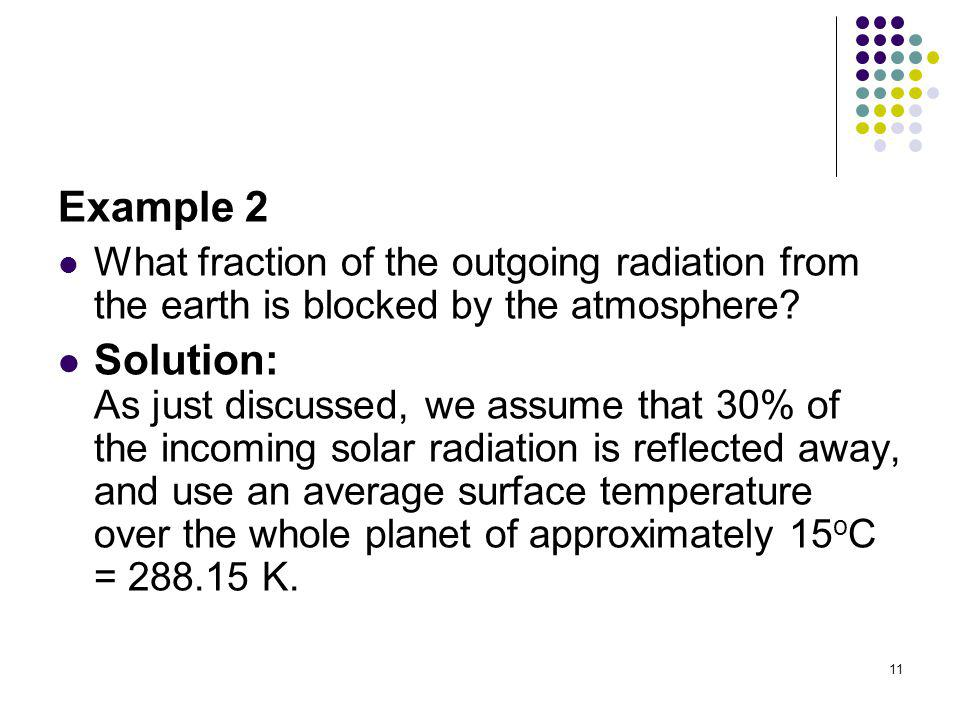 Example 2 What fraction of the outgoing radiation from the earth is blocked by the atmosphere