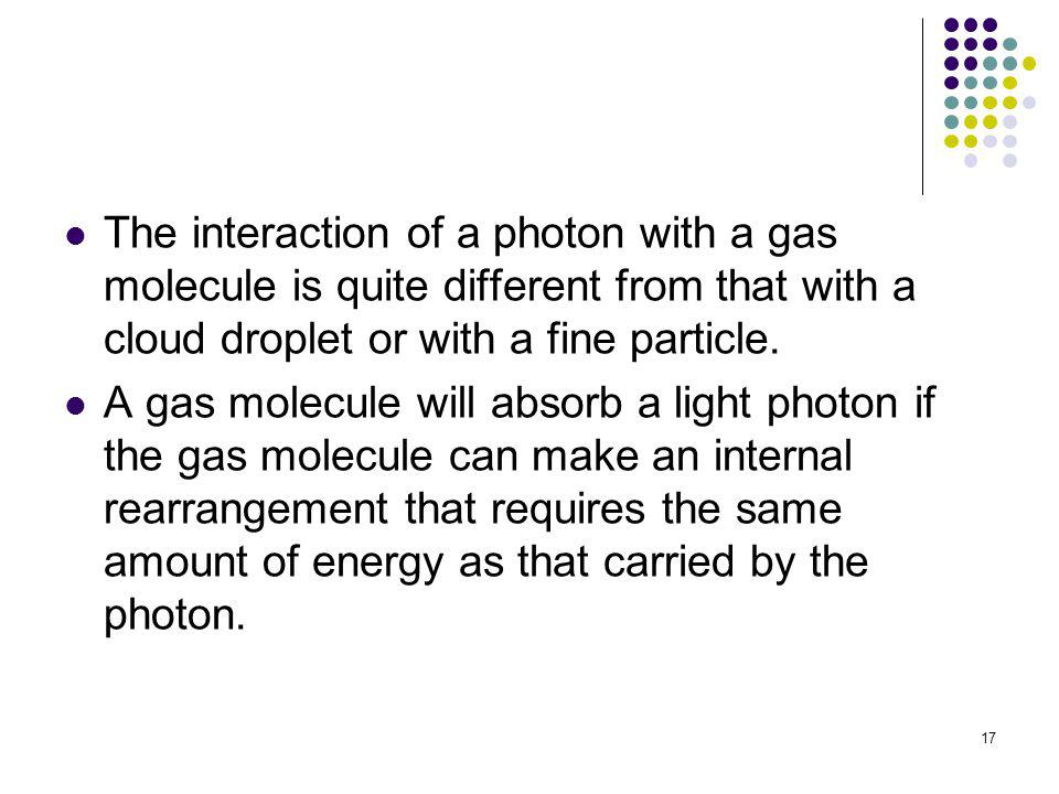 The interaction of a photon with a gas molecule is quite different from that with a cloud droplet or with a fine particle.