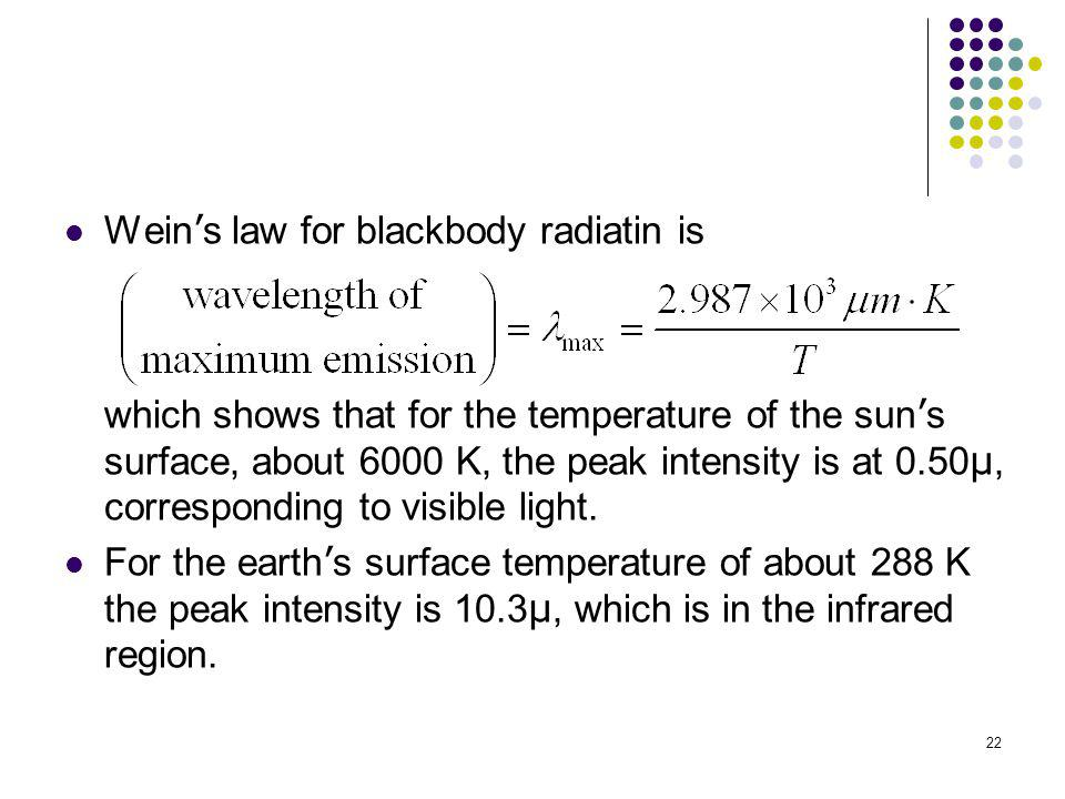 Wein's law for blackbody radiatin is which shows that for the temperature of the sun's surface, about 6000 K, the peak intensity is at 0.50µ, corresponding to visible light.