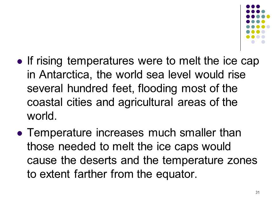 If rising temperatures were to melt the ice cap in Antarctica, the world sea level would rise several hundred feet, flooding most of the coastal cities and agricultural areas of the world.