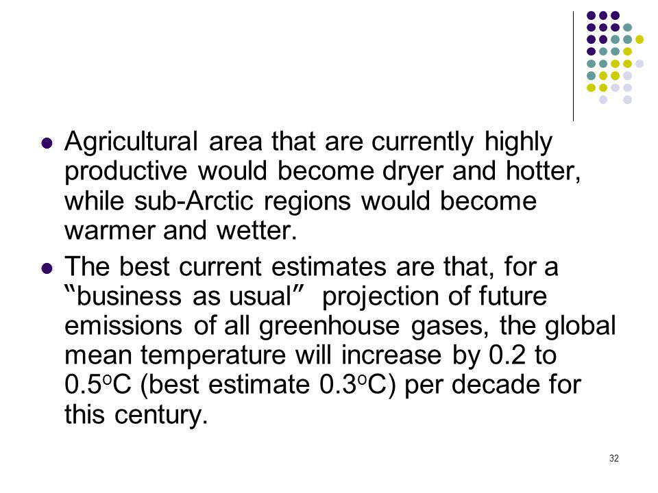 Agricultural area that are currently highly productive would become dryer and hotter, while sub-Arctic regions would become warmer and wetter.