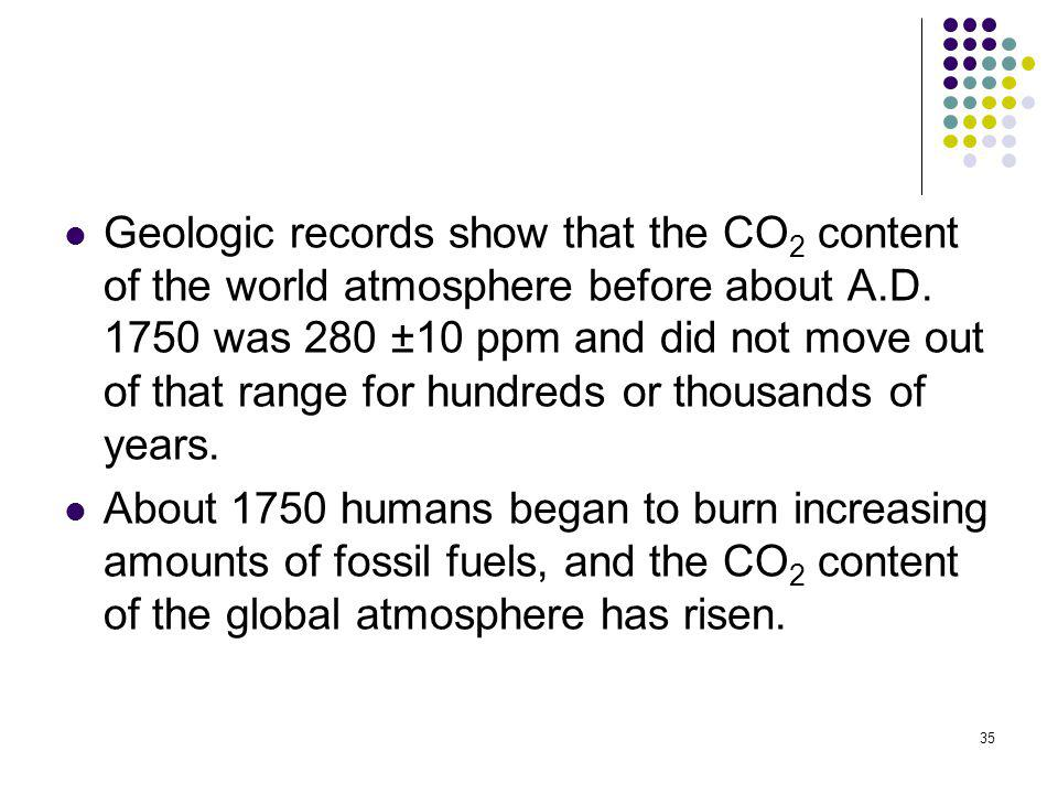 Geologic records show that the CO2 content of the world atmosphere before about A.D. 1750 was 280 ±10 ppm and did not move out of that range for hundreds or thousands of years.