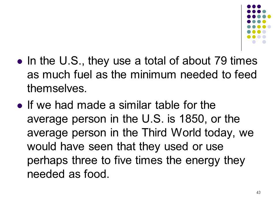 In the U.S., they use a total of about 79 times as much fuel as the minimum needed to feed themselves.