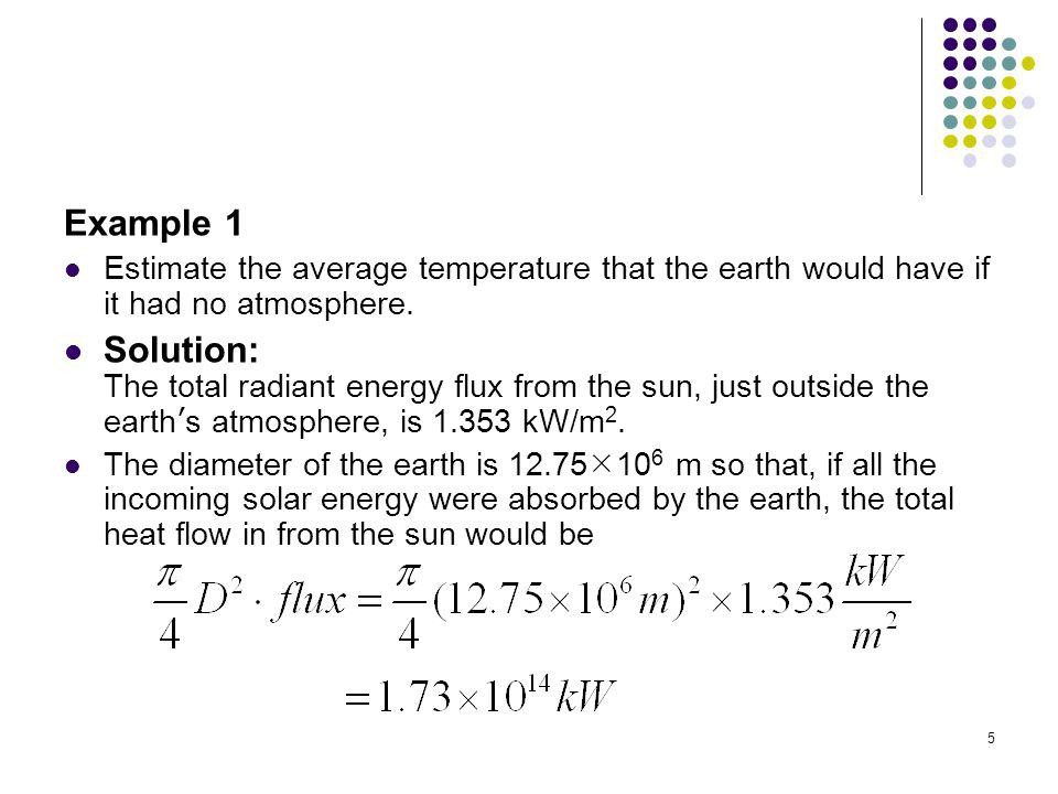 Example 1 Estimate the average temperature that the earth would have if it had no atmosphere.