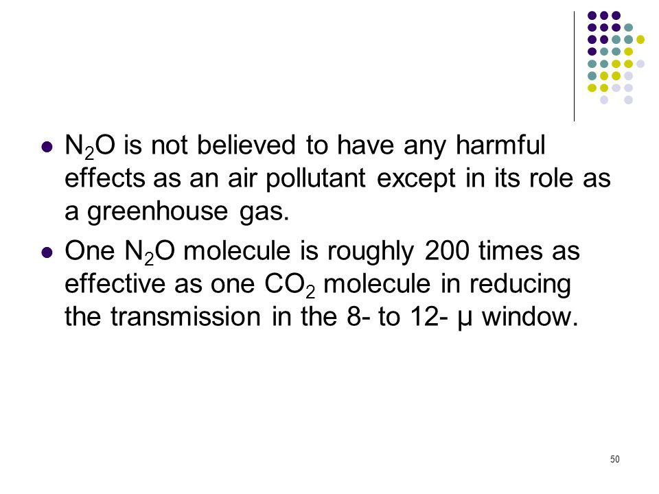 N2O is not believed to have any harmful effects as an air pollutant except in its role as a greenhouse gas.
