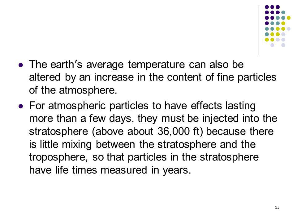 The earth's average temperature can also be altered by an increase in the content of fine particles of the atmosphere.