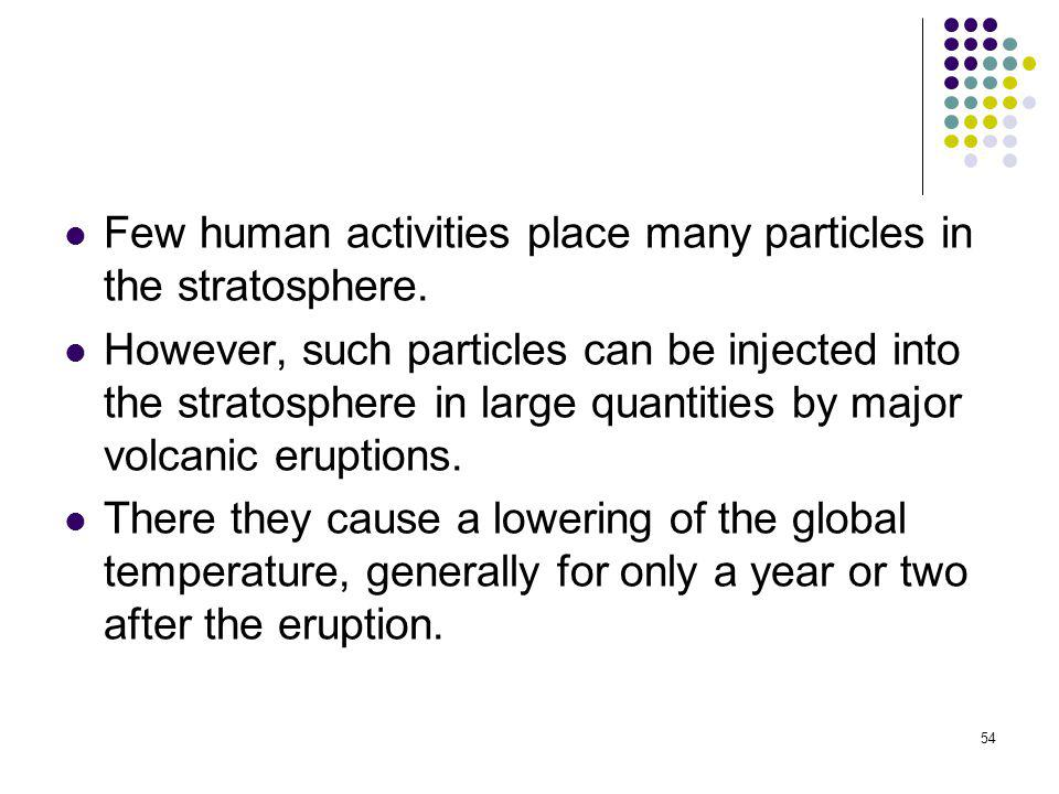 Few human activities place many particles in the stratosphere.