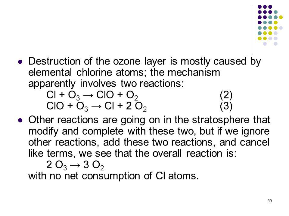 Destruction of the ozone layer is mostly caused by elemental chlorine atoms; the mechanism apparently involves two reactions: Cl + O3 → ClO + O2 (2) ClO + O3 → Cl + 2 O2 (3)