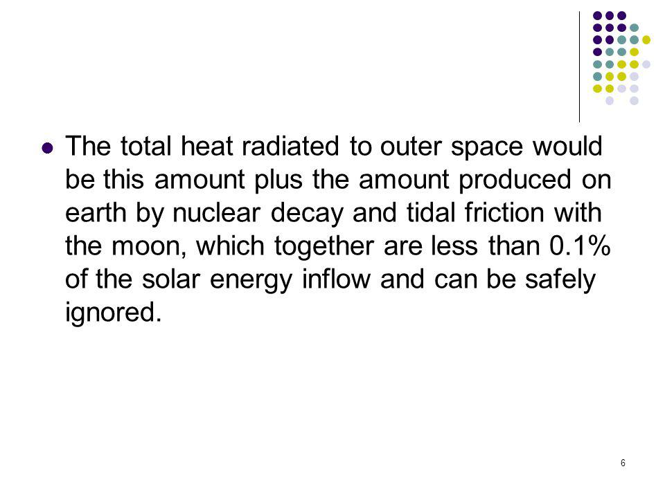 The total heat radiated to outer space would be this amount plus the amount produced on earth by nuclear decay and tidal friction with the moon, which together are less than 0.1% of the solar energy inflow and can be safely ignored.