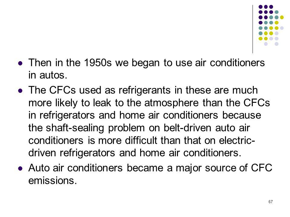 Then in the 1950s we began to use air conditioners in autos.