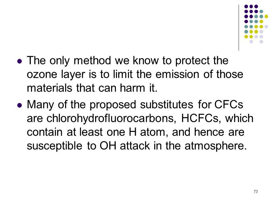 The only method we know to protect the ozone layer is to limit the emission of those materials that can harm it.