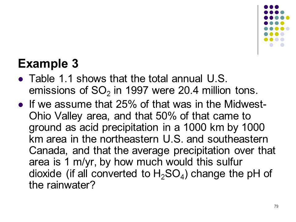Example 3 Table 1.1 shows that the total annual U.S. emissions of SO2 in 1997 were 20.4 million tons.