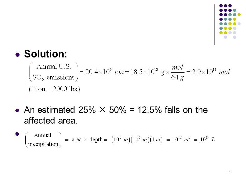 Solution: An estimated 25%  50% = 12.5% falls on the affected area.