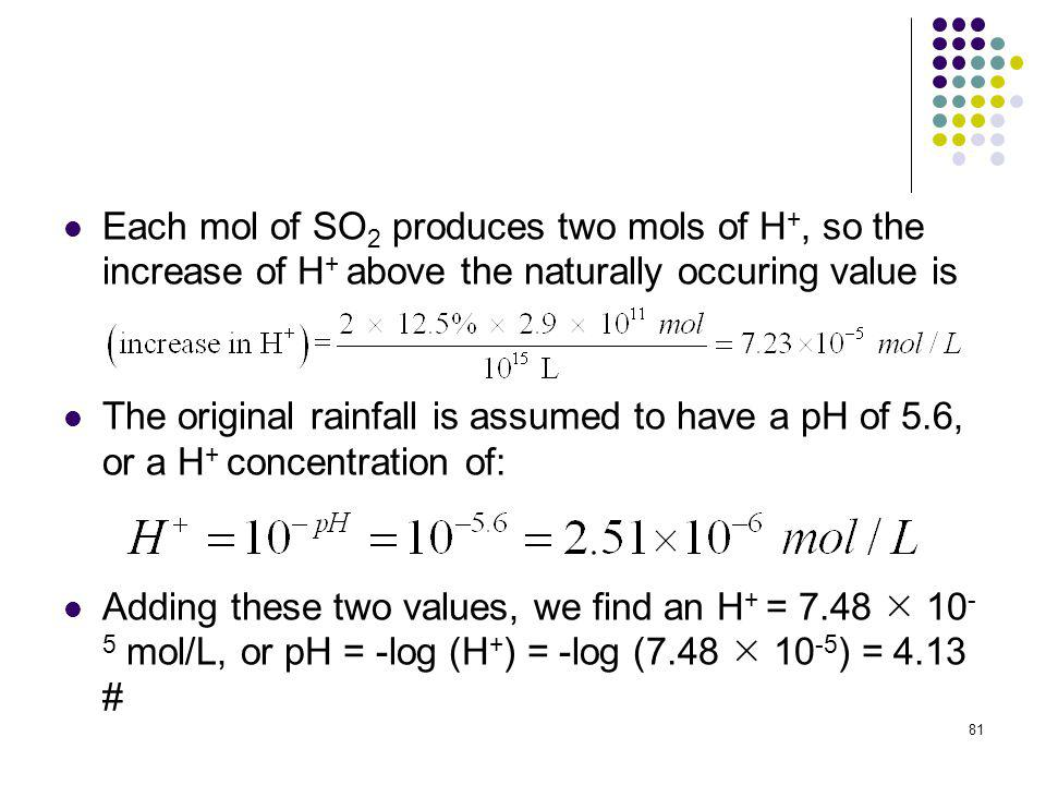 Each mol of SO2 produces two mols of H+, so the increase of H+ above the naturally occuring value is