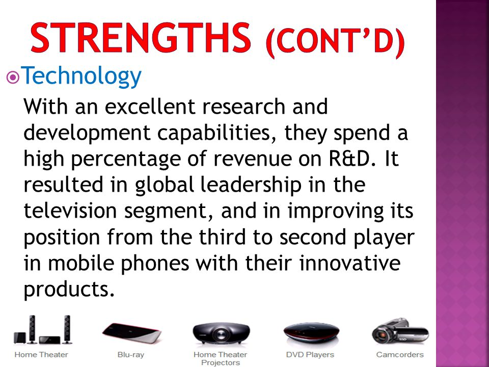 Strengths (cont'd) Technology