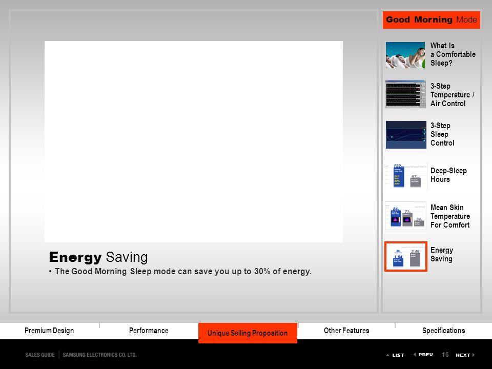 Energy Saving The Good Morning Sleep mode can save you up to 30% of energy.