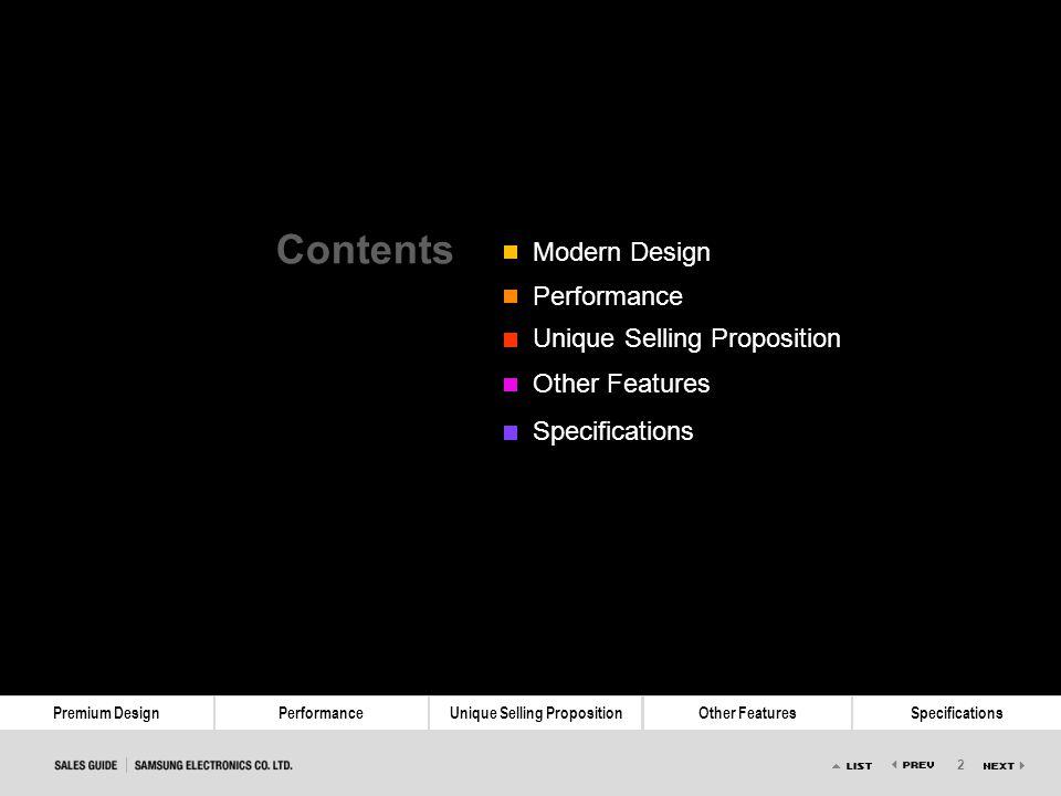 Contents Modern Design Performance Unique Selling Proposition