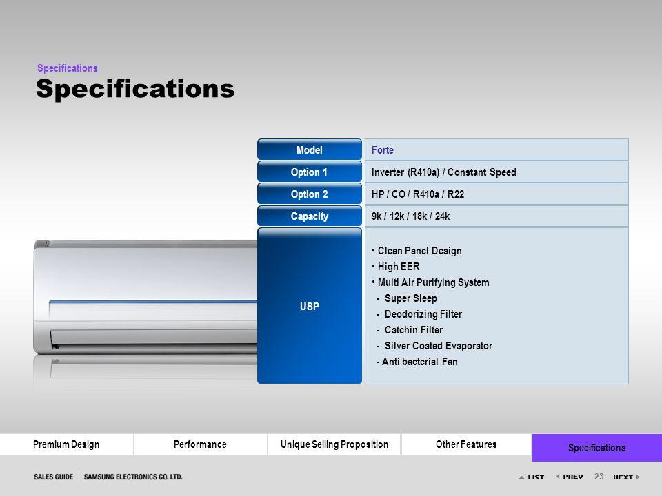 Model Option 1 Option 2 Capacity USP