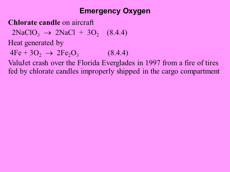 Emergency Oxygen Chlorate candle on aircraft. 2NaClO3  2NaCl + 3O2 (8.4.4) Heat generated by.