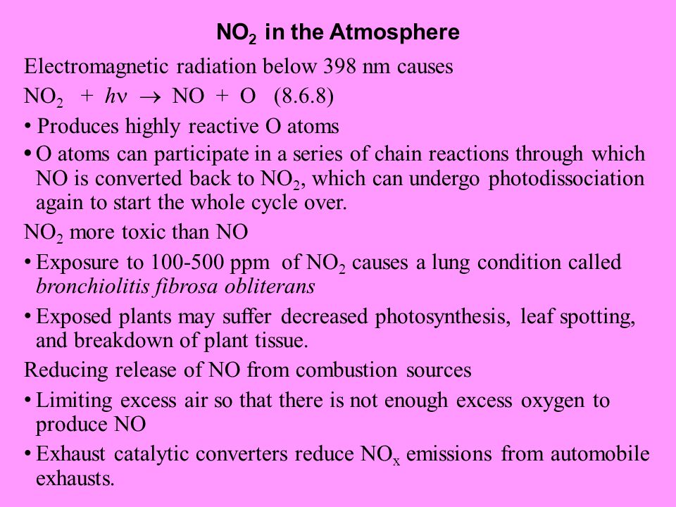 NO2 in the Atmosphere Electromagnetic radiation below 398 nm causes. NO2 + h  NO + O (8.6.8)