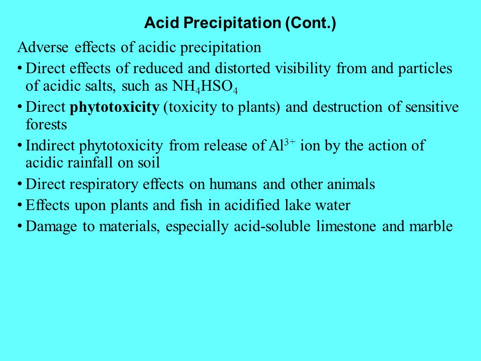 Acid Precipitation (Cont.)