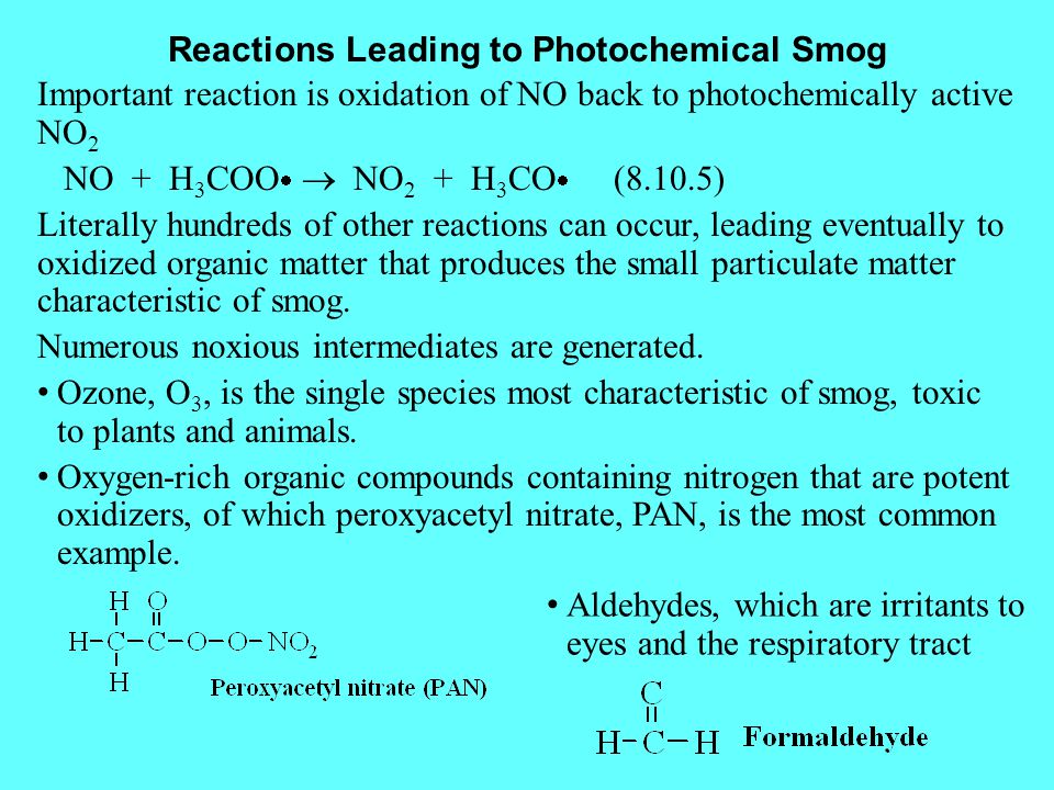 Reactions Leading to Photochemical Smog
