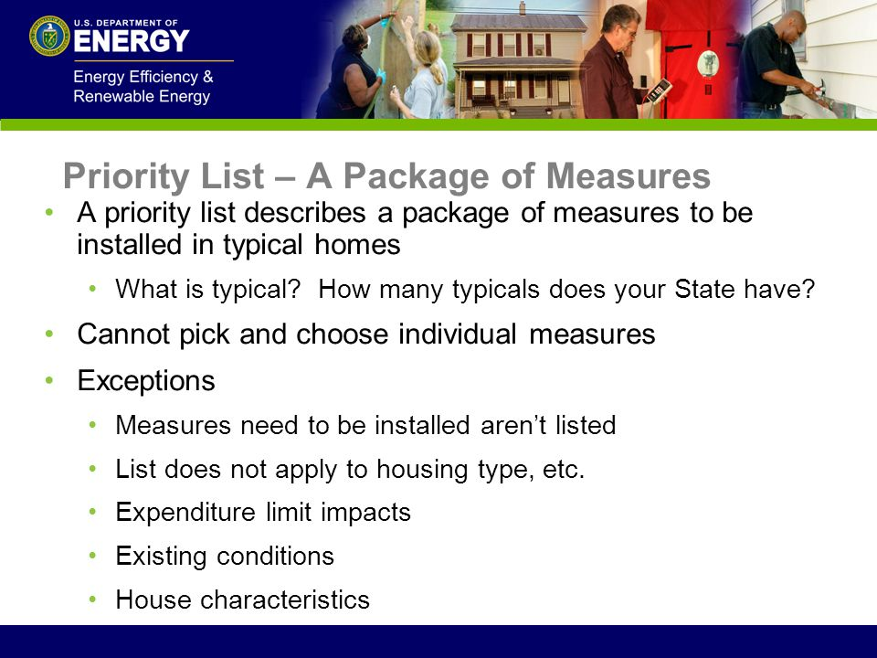 Priority List – A Package of Measures