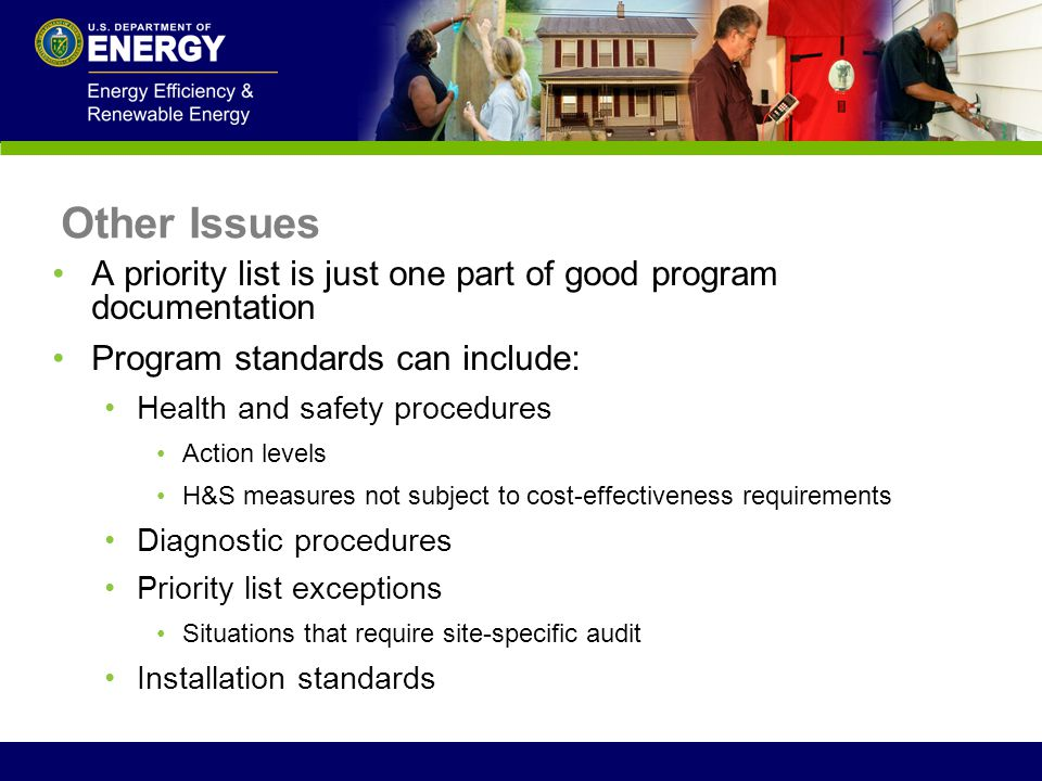 Other Issues A priority list is just one part of good program documentation. Program standards can include:
