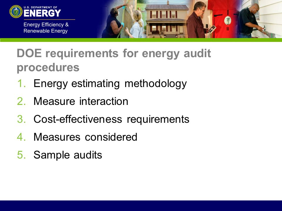 DOE requirements for energy audit procedures