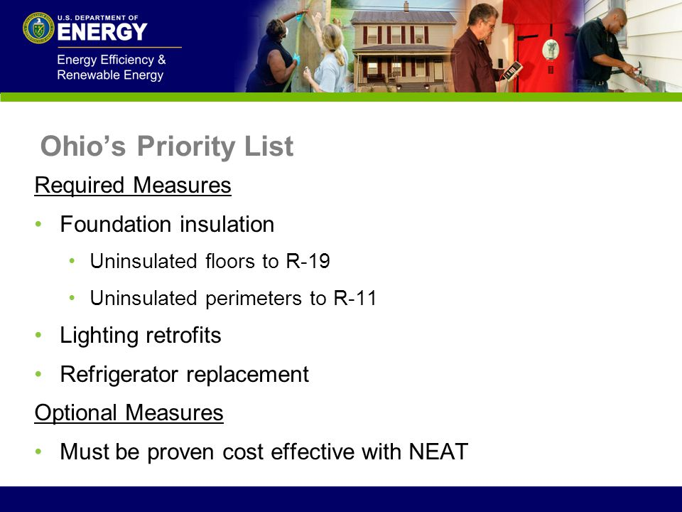 Ohio's Priority List Required Measures Foundation insulation