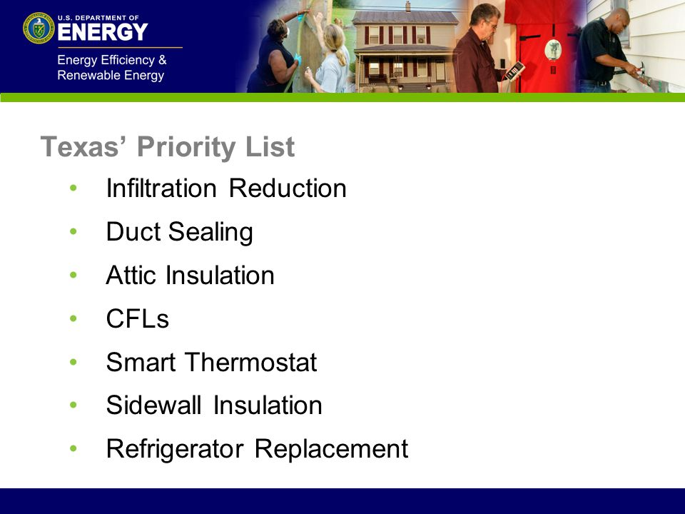Texas' Priority List Infiltration Reduction Duct Sealing