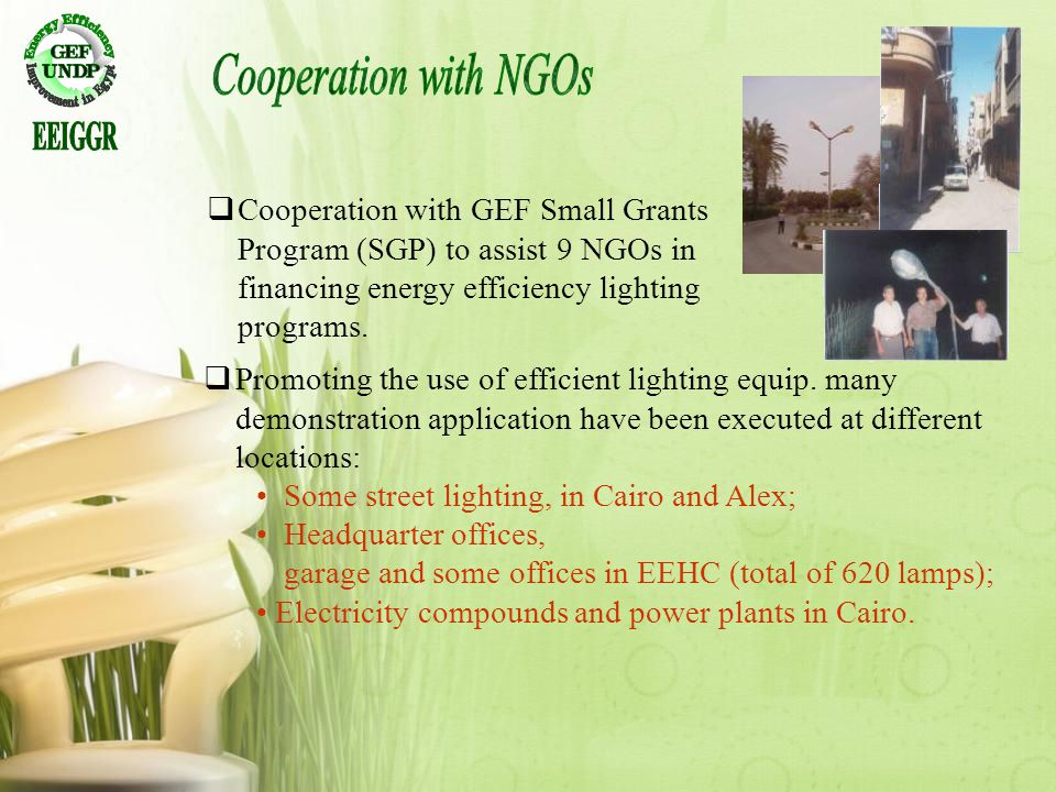 Cooperation with NGOs EEIGGR. Cooperation with GEF Small Grants Program (SGP) to assist 9 NGOs in financing energy efficiency lighting programs.