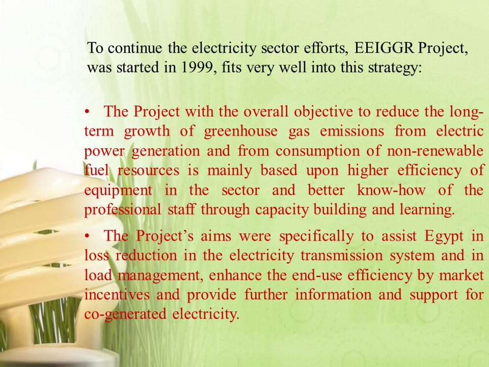 To continue the electricity sector efforts, EEIGGR Project, was started in 1999, fits very well into this strategy: