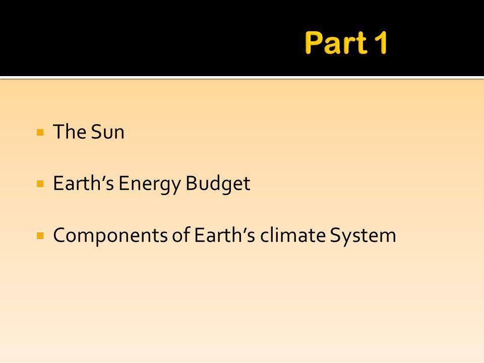 Part 1 The Sun Earth's Energy Budget