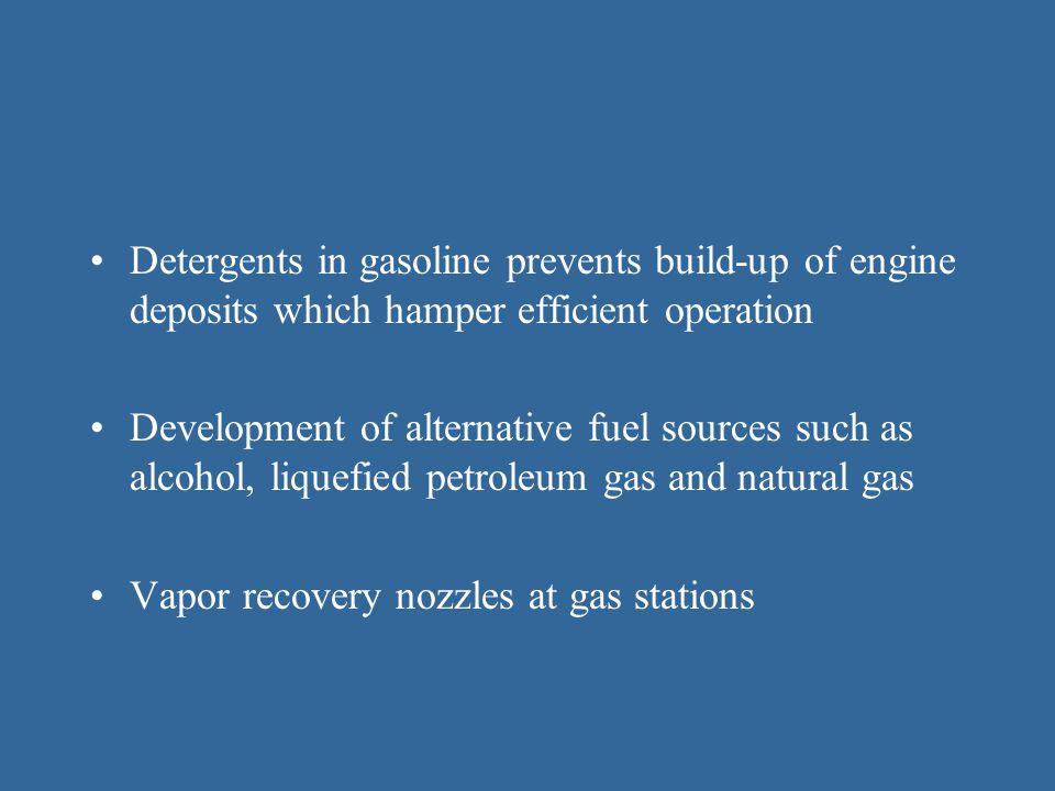 Detergents in gasoline prevents build-up of engine deposits which hamper efficient operation