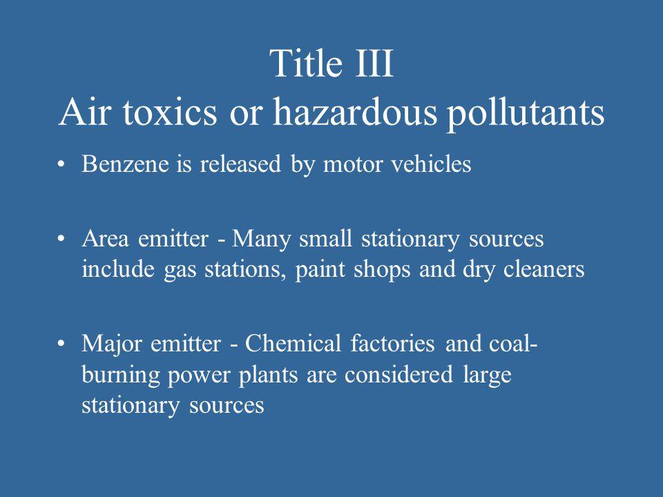 Title III Air toxics or hazardous pollutants