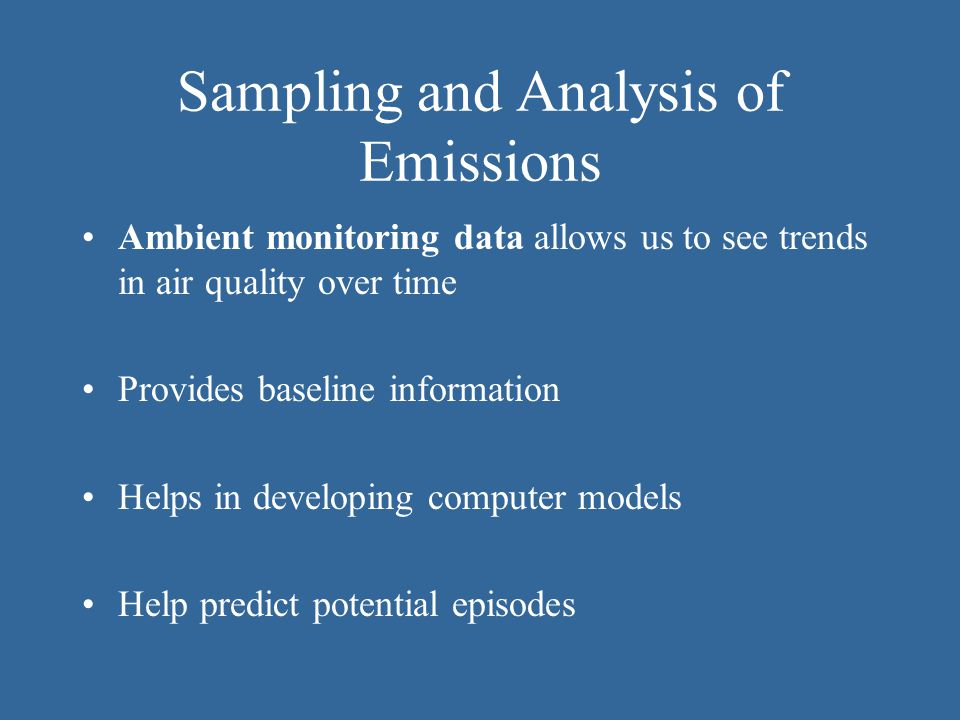 Sampling and Analysis of Emissions