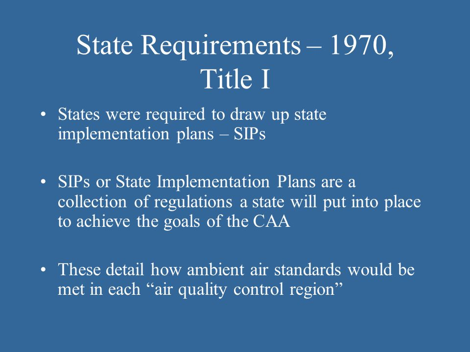 State Requirements – 1970, Title I