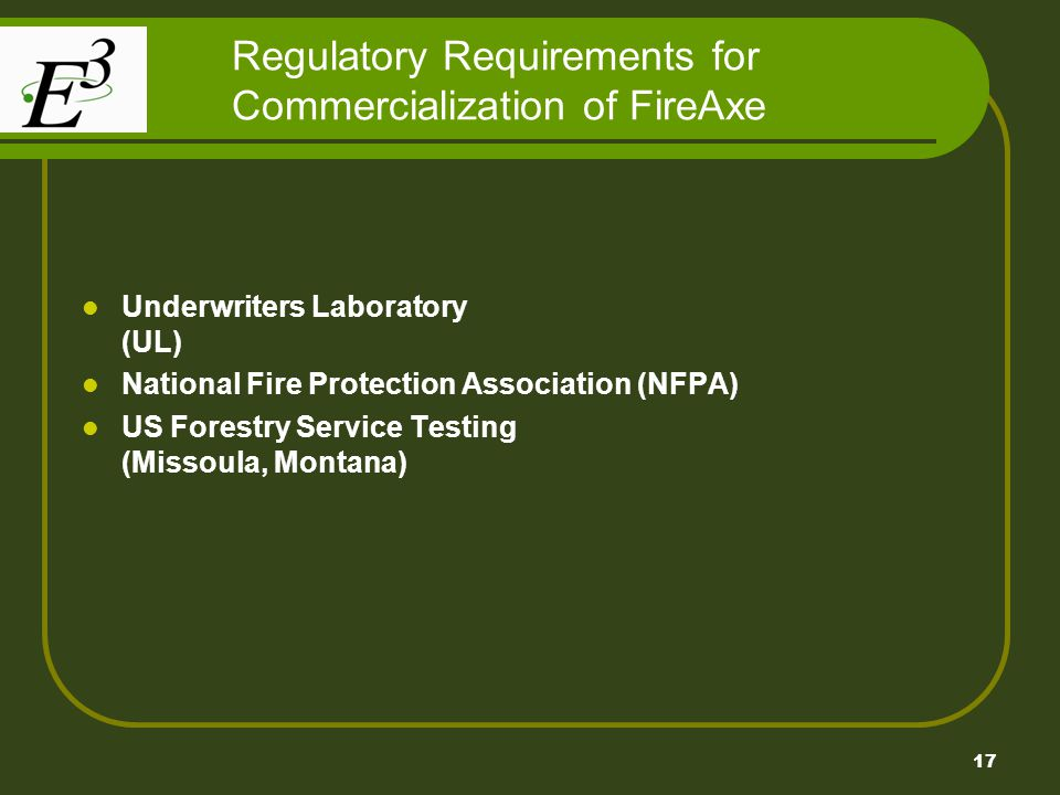 Regulatory Requirements for Commercialization of FireAxe