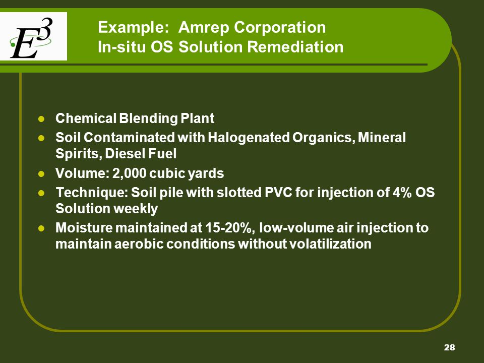 Example: Amrep Corporation In-situ OS Solution Remediation