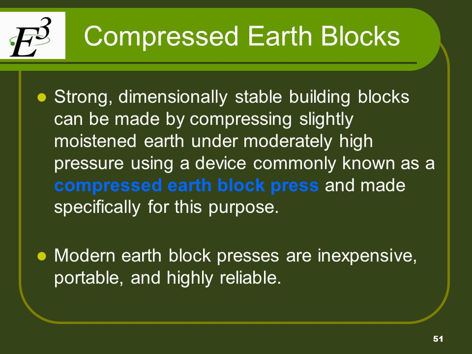 Compressed Earth Blocks