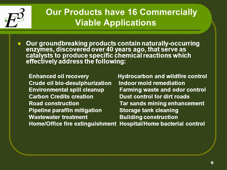 Our Products have 16 Commercially Viable Applications