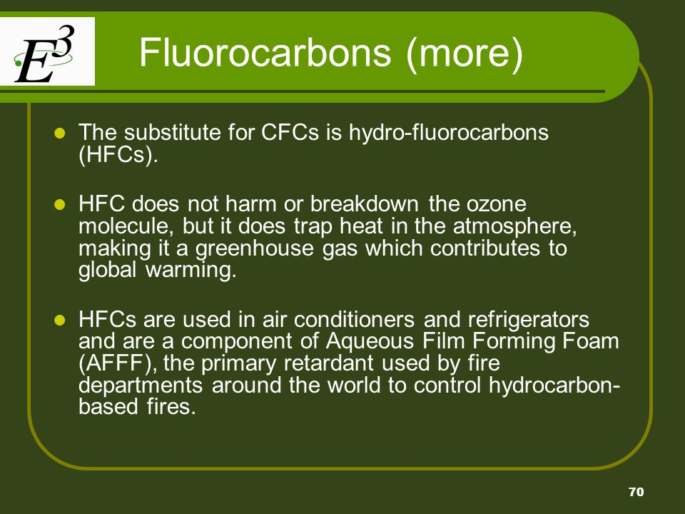 Fluorocarbons (more) The substitute for CFCs is hydro-fluorocarbons (HFCs).