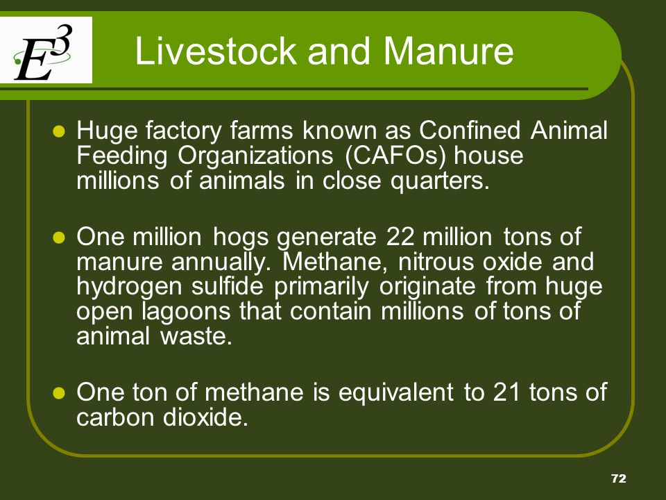 Livestock and Manure Huge factory farms known as Confined Animal Feeding Organizations (CAFOs) house millions of animals in close quarters.