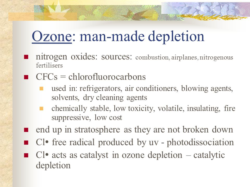 Ozone: man-made depletion